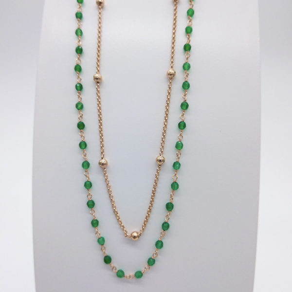 Collier agathes vertes